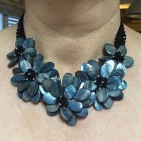 Dark Blue Beads and Crystal Glass Floral Statement Necklace