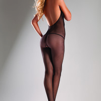 Black Halter Top Fishnet Body Stocking AMI+