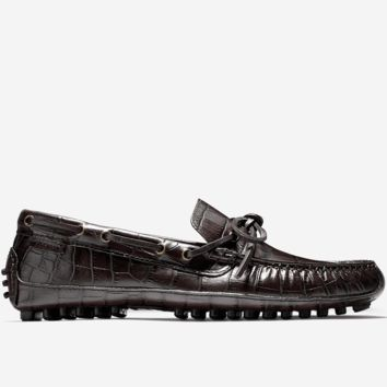 Grant Canoe Camp Driving Loafer in Chestnut Croc Print by Cole Haan