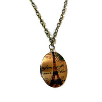 Gold and Brass Paris Eiffel Tower Locket Necklace