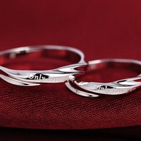 2pcs Free Engrave platinum rings, Wedding Couples Rings, his and hers promise ring set, wedding rings, matching promise ring,infinity ring