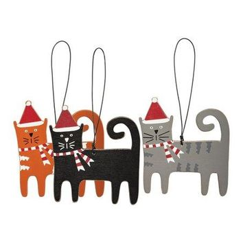 Christmas Cat Ornament w/ Santa Hats - 3 Styles
