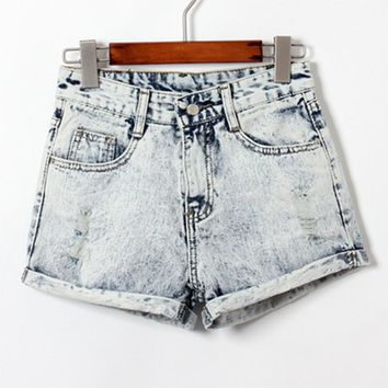 2017 Women Denim Shorts Summer Sexy Ladies Mid Waist  Shorts Regular Straight Causal Female Ripped Short Jeans Zipper Curling