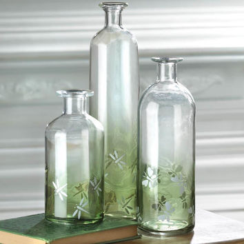 Country Farmhouse Apothecary Green Dragonfly Bottles Set of 3