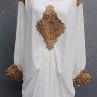 Special White Caftan Dress, Summer Party Kaftan Embroidery Dress, Cute White Fishtail Dress, Maxi Dress, Long Royal White Dress