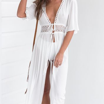 Pure White Longline Chiffon Sunscreen Beach Cardigan