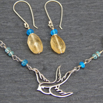 Jewelry set, necklace, earrings, blue, yellow, citrine, apatite, wire wrapped, sterling silver