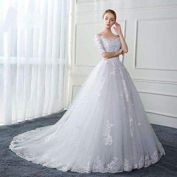 Ball Gown Off the Shoulder Half Sleeve Lace Tulle wedding dress