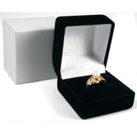 Novel Box Black Flocked Ring Gift Box Jewelry Display