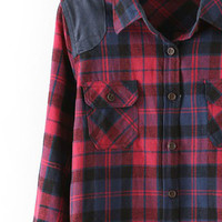 ROMWE Check PU Panel Pocketed Check Shirt