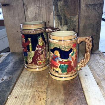 2 X Vintage 1960s German Style Ceramic Beer Steins made in Japan / Mid Century Barware / Oktoberfest Mug / 2 Different German Scenes