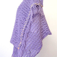 Over sized knit shawl, hand knit shawl with sequins and fringe, luxury outerwear