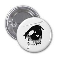 sad anime eye :( mini button
