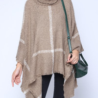 'The Vanessa' Brown Turtleneck Cloak-Style Sweater