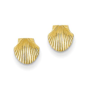 7mm Scalloped Shell Post Earrings in 14k Yellow Gold