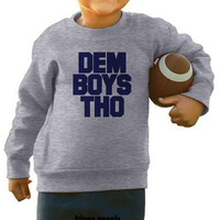 DEM BOYS THO Rabbit Skins Kids and Toddler Crew Neck Fleece Sizes 2T - 7T | Dem Boyz Shirt Toddler Baby Kids Dallas Cowboys Sweatshirt