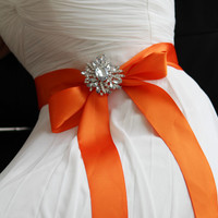Bridal sash, crystal sash, ribbon sash, rhinestone belt, wedding accessory, Orange bridal sash, bridal belt, bridesmaid belt