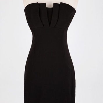 Black Strapless Ruffled Bodycon Dress