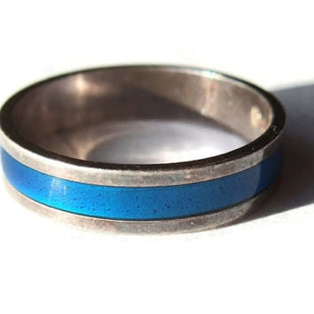 Vintage David Andersen enamel and sterling silver ring, Norwegian silver, modernist ring, royal blue, cobalt blue, 925 silver, 1970s, #218.