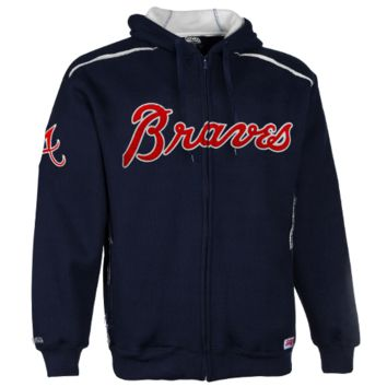 Stitches Atlanta Braves Thermal Sherpa Full Zip Hoodie Sweatshirt - Navy Blue