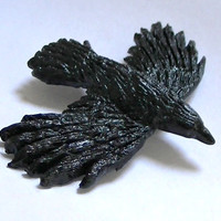 Crow In Flight Polymer Clay Magnet