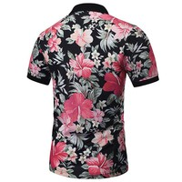 Harajuku POLO Shirts Men Summer Tops 3D Print Leaves And Flowers Fashion Brand Polo Sh