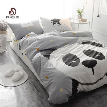 ParkShin Panda Printed Bedding Set Kids Gray Bedspread Duvet Cover Set Comfortable 100% Cotton Bed Set With Flat Sheet 4Pcs