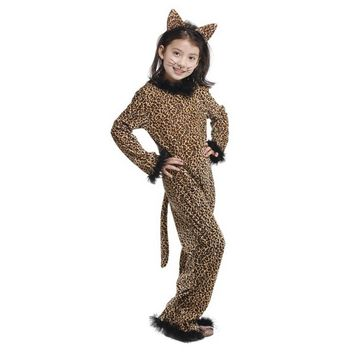 MOONIGHT Children Girls Halloween Party Leopard Print Cosplay Costumes Spandex Jumpsuits Anime Animal Costume Full body Suit