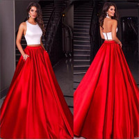 White With Red Simple Two Piece Prom Dresses 2017 Halter Sleeveless Satin Women Formal Prom Dress A-Line Party Evening Gown