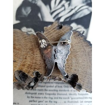 Vintage Modernist Mexico GC-01 Pepe Cerroblanco abalone inlay sterling silver butterfly brooch