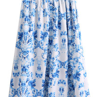 Multicolor High Waist Floral Print Midi Skirt