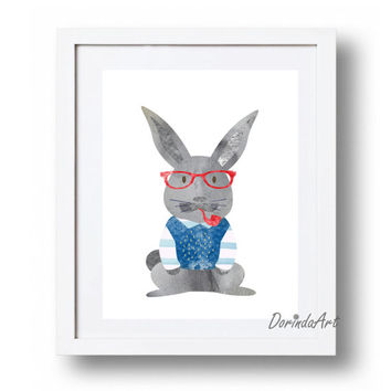 Grandpa Bunny print Grandpa printable art Watercolor Navy blue Red and gray Nursery art Home decor Bunny with glasses 5x7 8x10 11x14 16x20