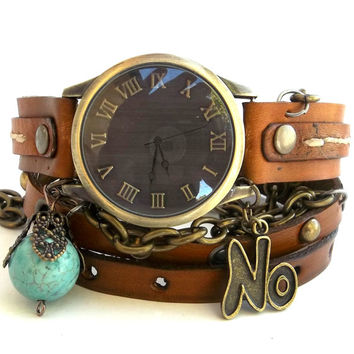 Chain Wrap Watch, Leather Wrist Watch, Womens Bracelet Watch with turquoise bead,