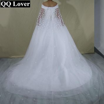 QQ Lover New Design Fashional Boat Neck Wedding Dress With Shawl 2017 Becautiful Flowers Bridal Gown Vestido De Noiva