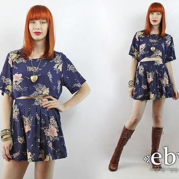 Vintage 90s Navy Floral Crop Top + Outfit S M Two Piece Set Two Piece Outfit Separates Cropped Top High Waisted Skirt Matching Set