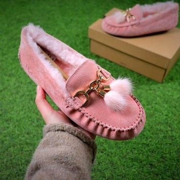 DCCKU62 Ozlana Ugg The Fluffy Loafer Pink Slippers