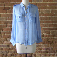 I. Madeline Blue & White with Gold Buttons Sheer Blouse