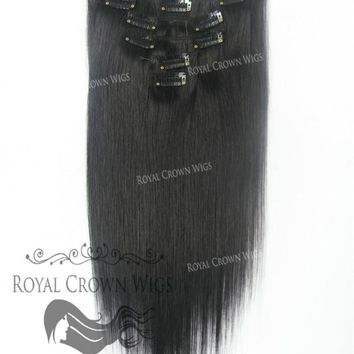 Brazilian 7 Piece Straight Human Hair Weft Clip-In Extensions in #1B