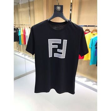 FENDI Fashion Casual Double F Letter T-Shirt Top Tee Black