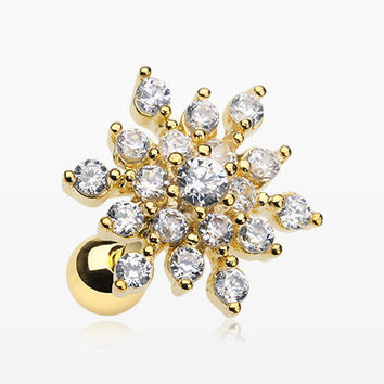 Golden Frost Flower Sparkle Cartilage Tragus Barbell