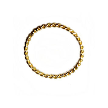 14K Solid Gold Twisted Seamless Ring - Continuous Nose Hoop Ring - 20 gauge - body jewelry