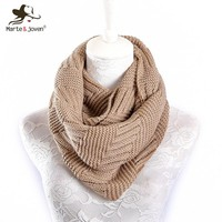 Marte&Joven Fashion Knitted Imitation Cashmere Ring Scarf for Women Soft Acrylic Winter Infinity Scarves Ladies Warm Snood Scarf