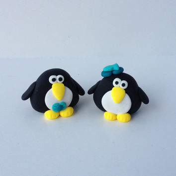 NEW 2013 - Chubby Penguin Couple Made to Order Figurine Ornament or Magnet