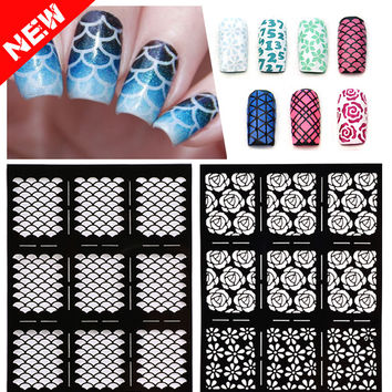 1sheet New Reusable Stamping Nail Art Hollow Stickers Black Vinyls Irregular Grid Pattern Template Stencil Guide Manicure Tools