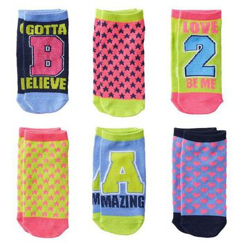 LMFPL3 Pink Cookie 6-pk. Sparkly  Gotta Believe  No-Show Socks - Girls Size