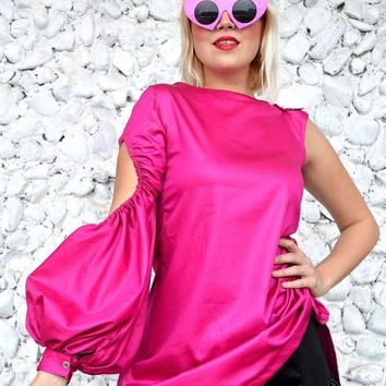 GREEN SALE 15% OFF Extravagant Pink Top Tt112, Asymmetrical Pink Blouse, Cotton Pink Blouse with Cropped Flared Sleeve