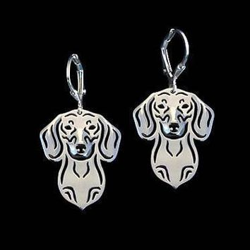 Dachshund Puppy Face Shaped Drop Dangle Earrings in Silver | Animal Jewelry
