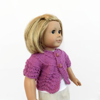 Purple Doll Sweater, 18 Inch Doll Cardigan, Knit Doll Clothes, Purple Knit Shrug