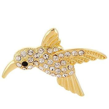 RUXIANG Crystal Flying Hummingbird Bird Animal Magnetic Glasses Holder Brooch Pin Clothes Jewelry