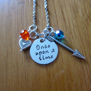 "Disney Inspired Princess Merida Necklace. ""Once Upon A Time"" Brave. Silver colored, Hand Stamped, Swarovski crystals FREE shipping"